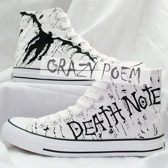Anime Death Note Custom Hand Painted Hi-Top Canvas Shoes Unisex-1