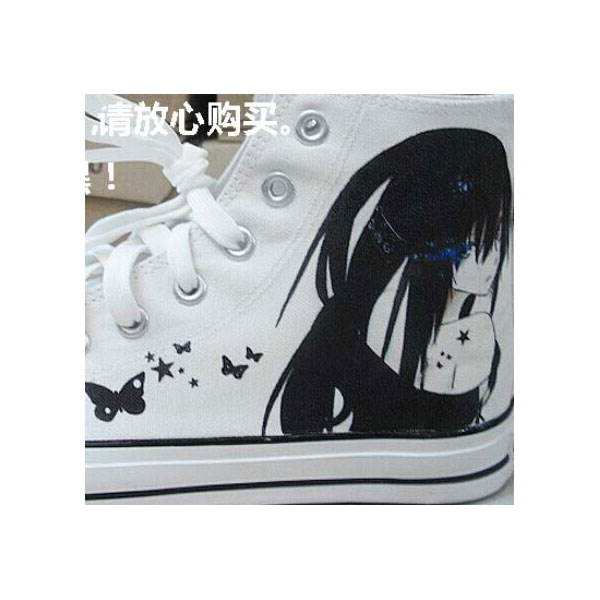Anime BLACK ROCK SHOOTER Painted Canvas Shoes-2