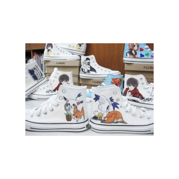 Digital Monster Anime Painted Canvas Shoes For Men Women