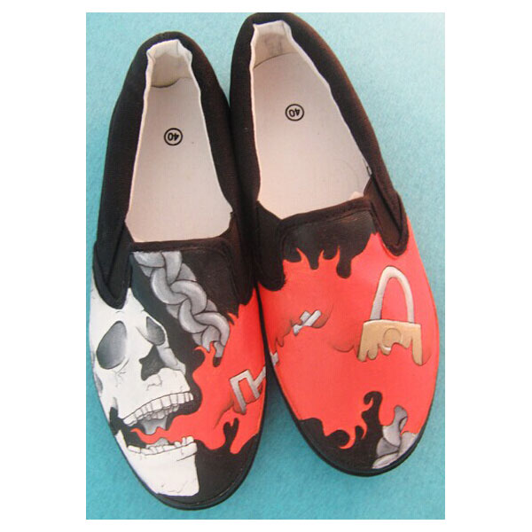 Death shoes Slip-on Painted Canvas Shoes