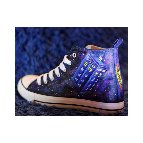 Doctor Who dark galaxy high tops shoes Dr. Who Customized High-t-2