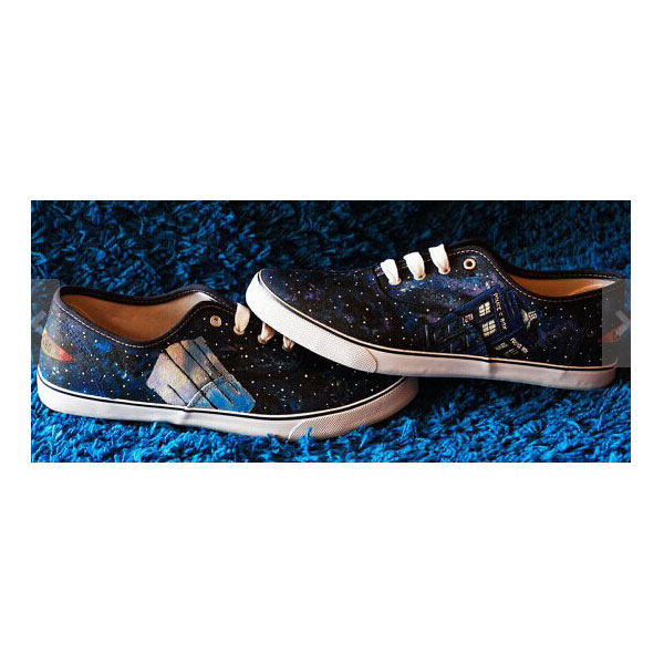 Doctor Who canvas shoes dark galaxy High-top Painted Canvas Shoe