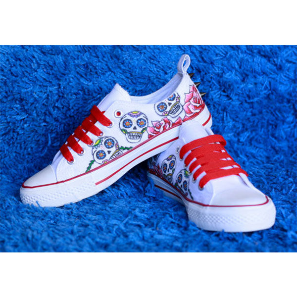 1d1a502660e9 Sugar skull Painted Canvas Shoes Mexican skull Painted Canvas Sh