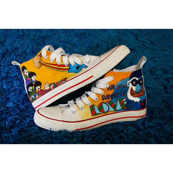 he Beatles High Top Fashion Canvas Shoes Hand Painted For Sale-3