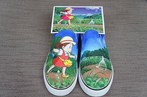 Totoro shoes Hand painted shoes Anime shoes Totoro-1
