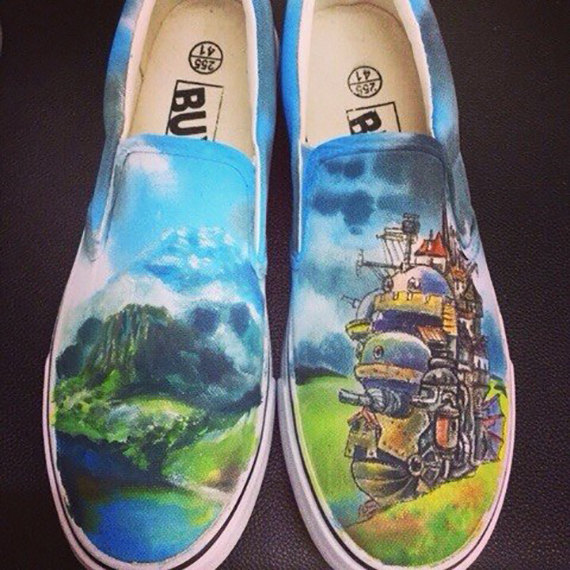 Anime shoes Howl's Moving Castle Anime Slip-on Painted Canvas Sh-1