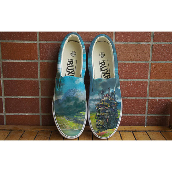 Anime shoes Howl's Moving Castle Anime Slip-on Painted Canvas Sh
