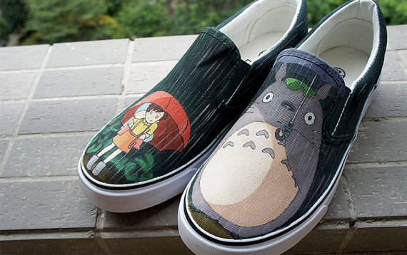 Totoro in the rain Hand painted shoes Anime Totoro shoes-1
