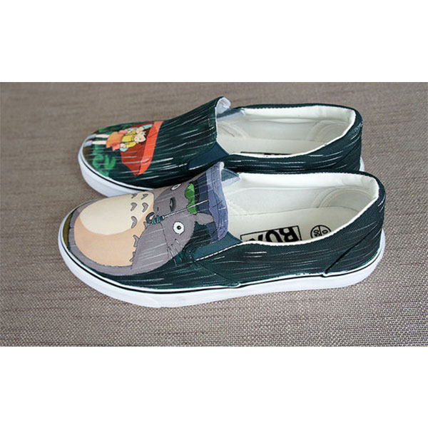 Totoro in the rain Hand painted shoes Anime Totoro shoes-2