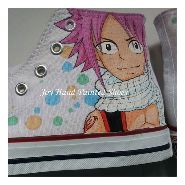 Anime Shoes Fairy Tail Men Womens White Shoes Hand Painted Custo-2