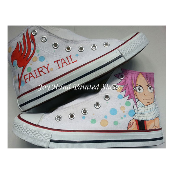 Anime Shoes Fairy Tail Men Womens White Shoes Hand Painted Custo