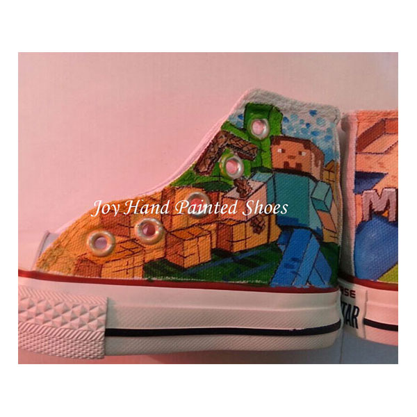 Minecraft Painted Converse Shoes Custom Hand Painted Shoes for k-3
