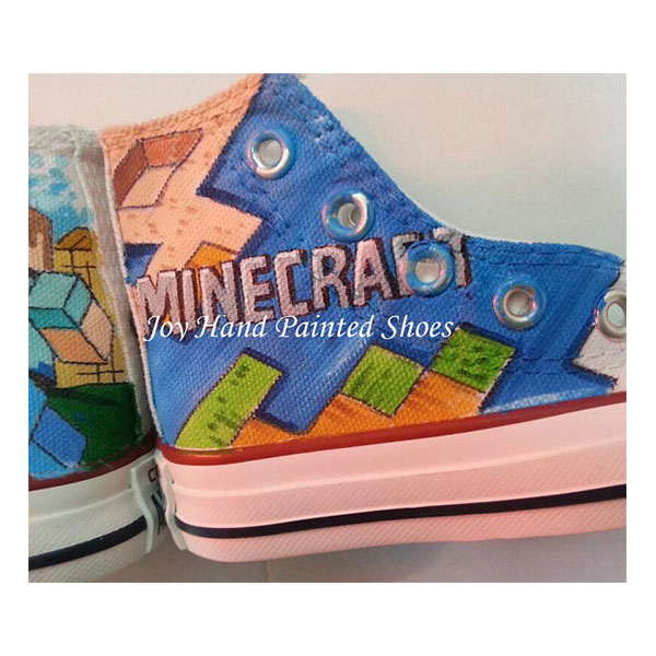 Minecraft Painted Converse Shoes Custom Hand Painted Shoes for k-4