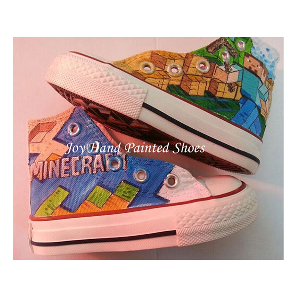 Minecraft Painted Converse Shoes Custom Hand Painted Shoes for k