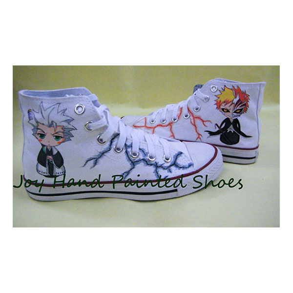 Custom Anime Shoes Bleach Anime Hand painted Hightop Shoes Hand -5
