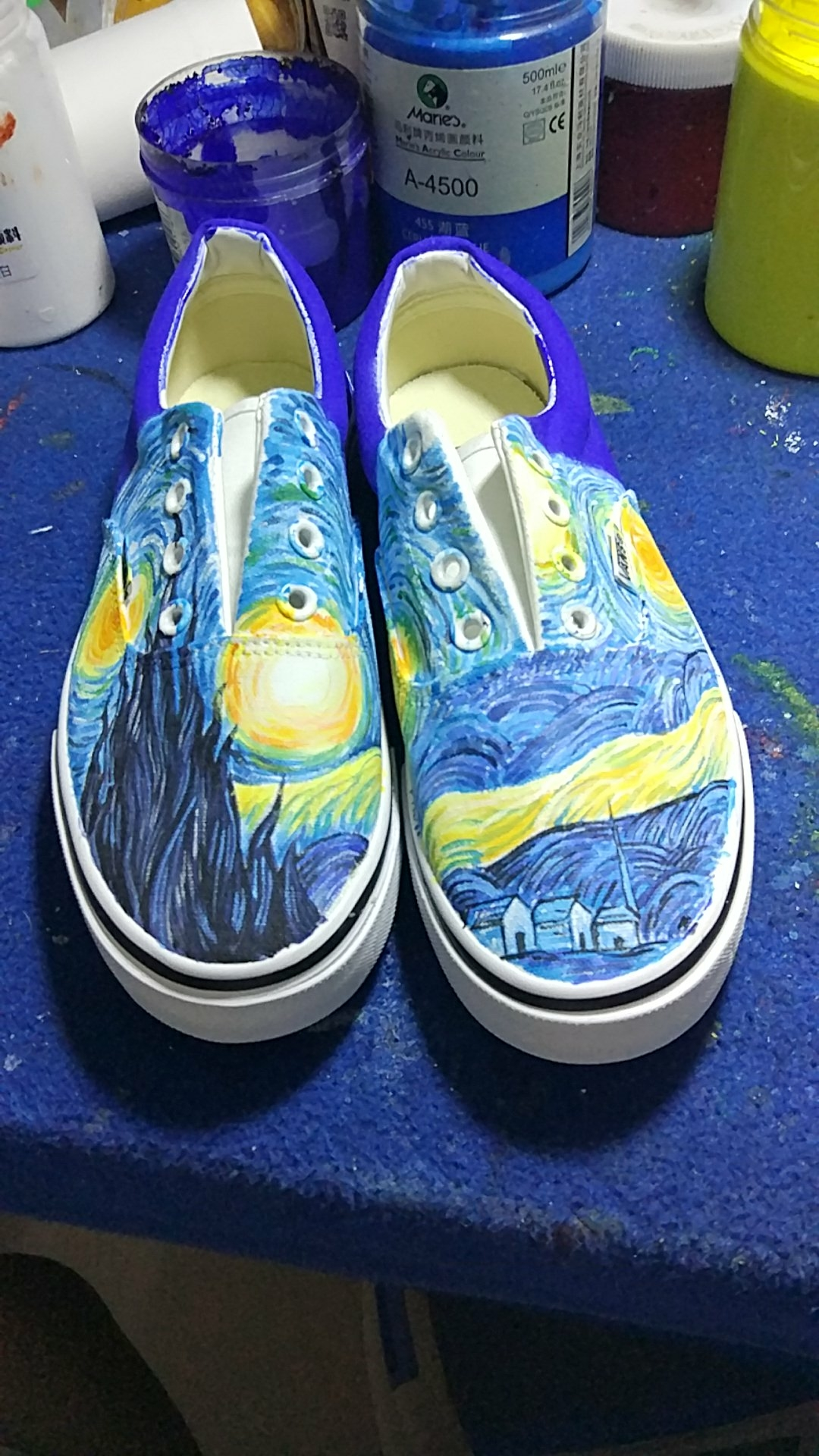 Vincent Van Gogh Starry Night Vans Custom Vans Hand Painted Star