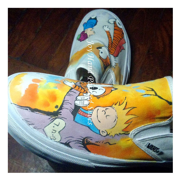 Custom Painted Calvin and Hobbes Shoes Slip On Vans Shoes Calvin-3