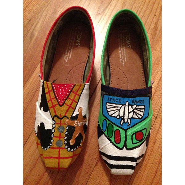 Hand Painted Toy Story Buzz Lightyear and Woody Toms Shoes