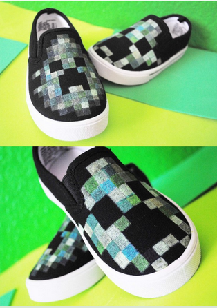 Minecraft Creeper Kids Custom Shoes