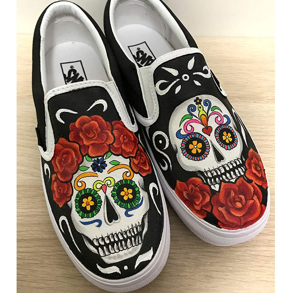 Day of the dead Sneakers Slip-on Painted Canvas Shoes
