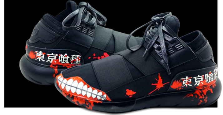 tokyo ghoul shoes Glow In The Dark hand painted shoes anime mens-1