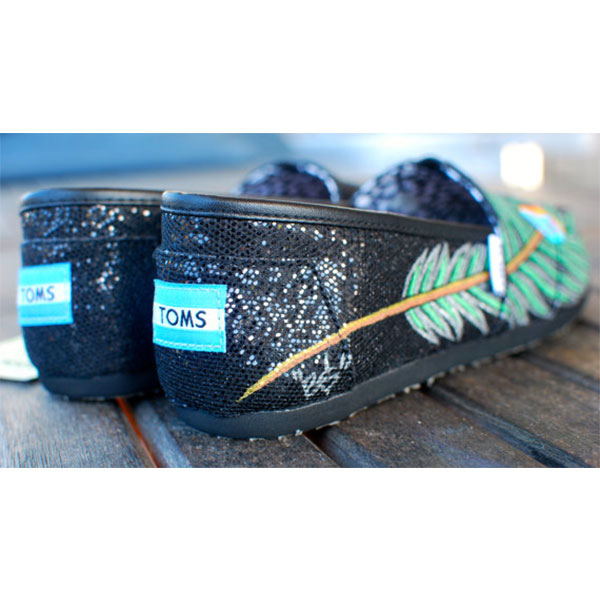 Hand Painted Black Glitter Peacock Feather TOMS shoes-1