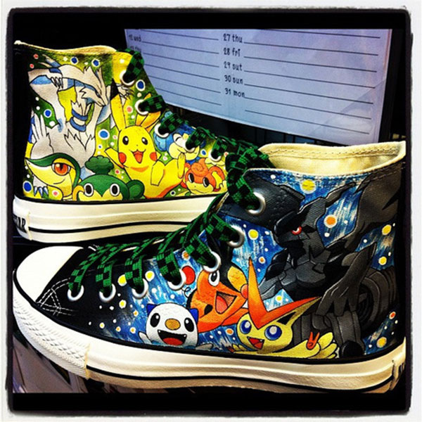 pokemon Anime Shoes Hand Painted Shoes High-top Painted Canvas S