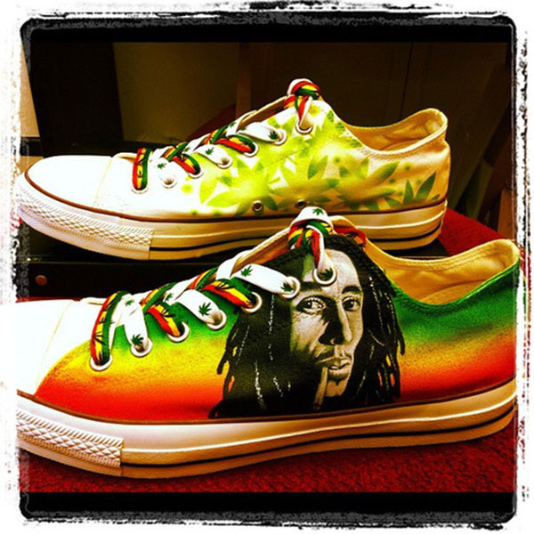 2015 Bob Marley Low-top Painted Canvas Shoes