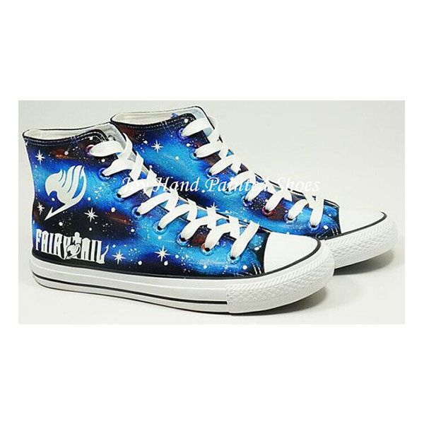 Fairy Tail Anime Shoes Galaxy Background Hand Painted Shoes Blac-1