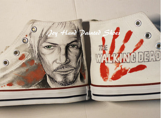 The Walking Dead Shoes Painted Custom Shoes Birthday Gifts Hand -1