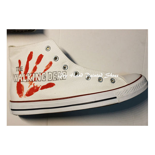 The Walking Dead Shoes Painted Custom Shoes Birthday Gifts Hand -3