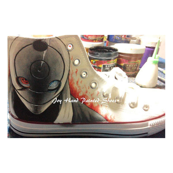 Naruto Anime Shoes Anime Sasuke Hand Painted Shoes Custom Cospla-1