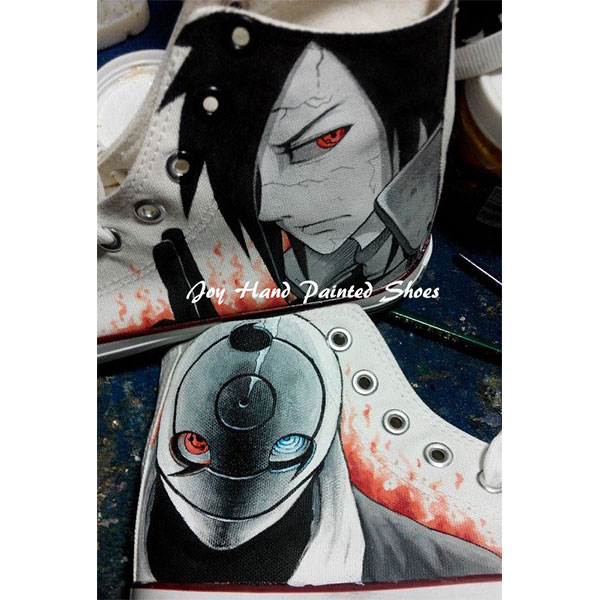 Naruto Anime Shoes Anime Sasuke Hand Painted Shoes Custom Cospla-2