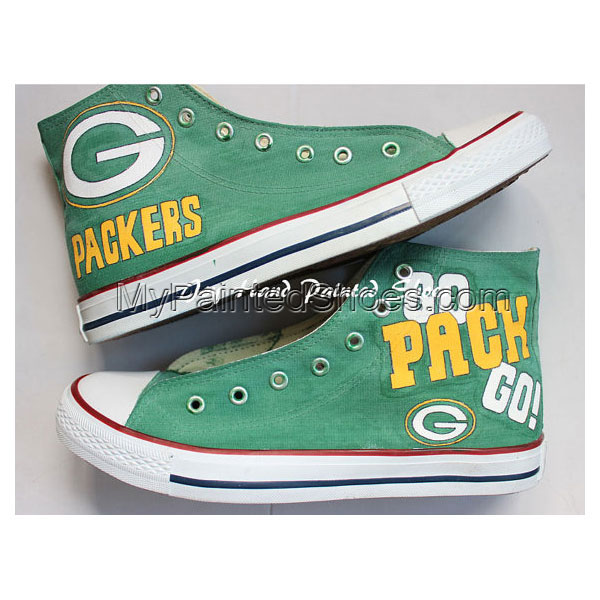 Green Bay Packers Unieque ustom Hand Painted Shoes Custom Hign T