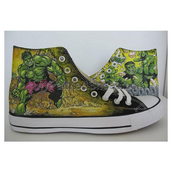 The Avengers Custom Hulk Green Painted Shoes gift/MEN /women sho-1