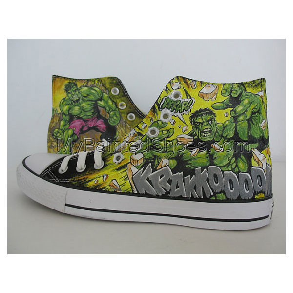 a7d6e4ccf0 The Avengers Custom Hulk Green Painted Shoes gift MEN  women sho