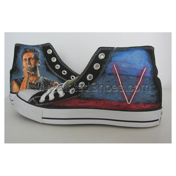 maroon 5 Adam Levine hand painted shoes Canvas Shoes Birthday Gi-1