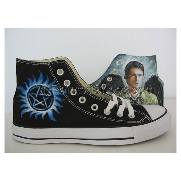 custom supernatural hand painted shoes canvas shoes Angel wings 263556f566b12