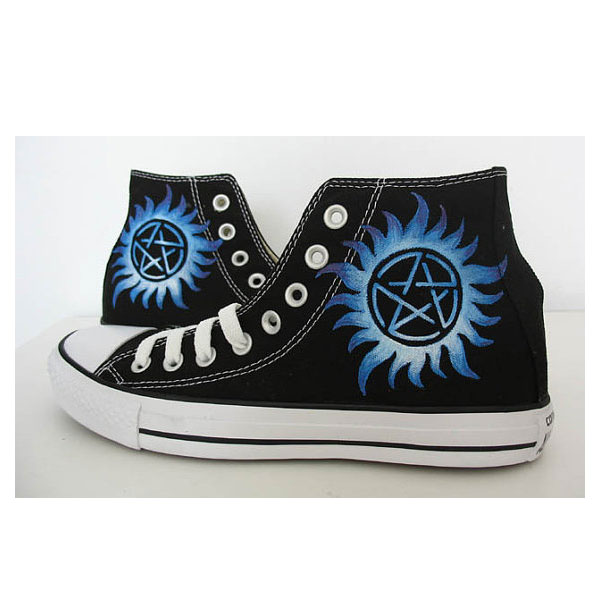 supernatural blue custom hand painted canvas men women shoes Can