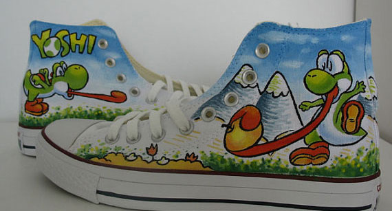 CUSTOM Yoshi hand painted shoes Canvas Shoes Birthday Gifts Chri-1