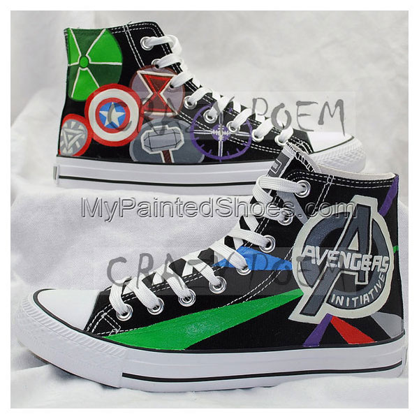 Marvel Comic The Avengers Hand Painted Canvas Shoes High Top Sne-1