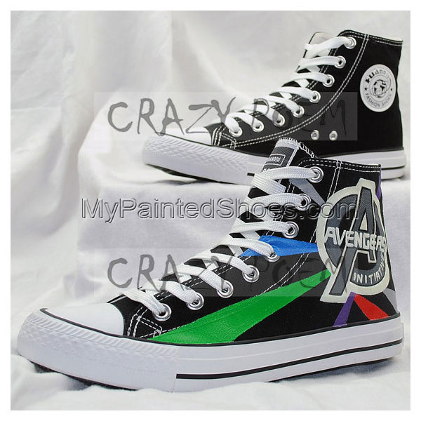 Marvel Comic The Avengers Hand Painted Canvas Shoes High Top Sne-2