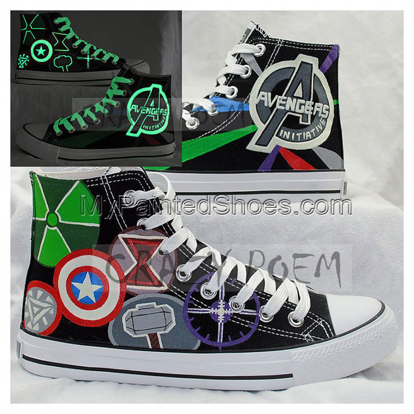Marvel Comic The Avengers Hand Painted Canvas Shoes High Top Sne