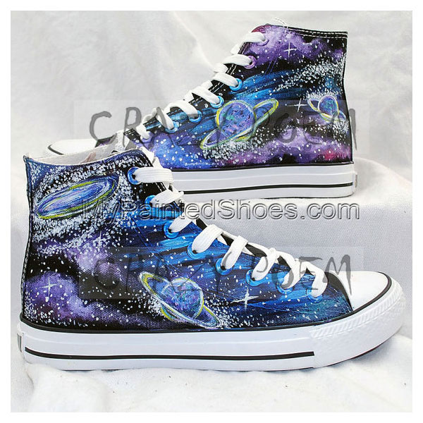 High Quality Fashion Galaxy and Planet Hand Painted Shoes Custom-1