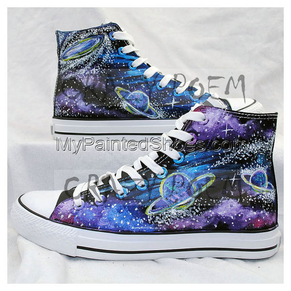 High Quality Fashion Galaxy and Planet Hand Painted Shoes Custom