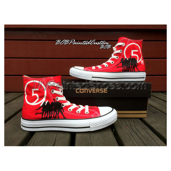 Womens Red Shoes Hand Painted Custom Design High Top Canvas Shoe-2