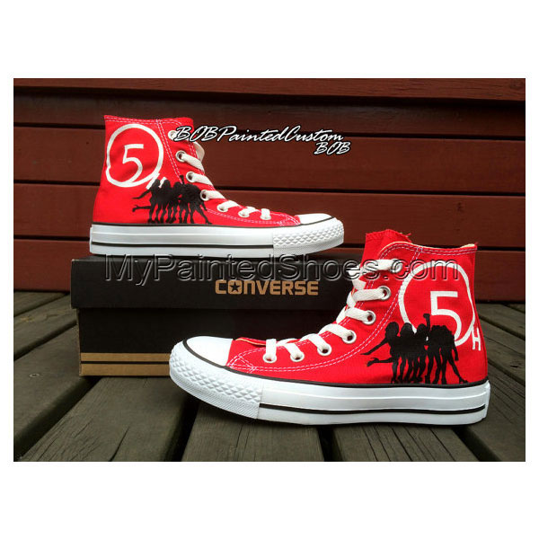 Womens Red Shoes Hand Painted Custom Design High Top Canvas Shoe