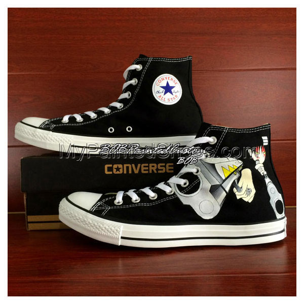 Soul Eater Black Sneaker Hand Painted Anime Shoes for Men Women -2