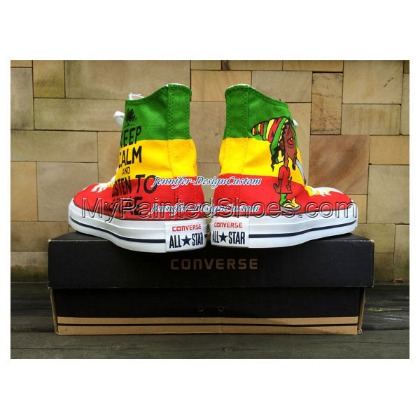 ART WORK Unique Design Reggae Shoes Hand Painted Shoes Custom Gi-3