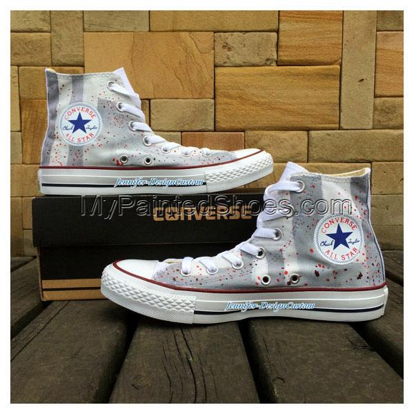 Design Gray Hand Painted Shoes Canvas Shoes Birthday Gifts Chris-1
